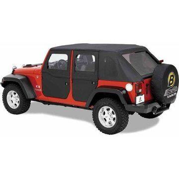 Bestop 51798-35 Jeep Wrangler Front 2-Piece Full Fabric-Door Set, Black Diamond