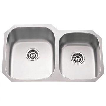 Hardware Resources Stainless Steel (18 Gauge) Kitchen Sink w/Two Unequ
