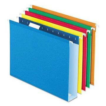 Pendaflex 5142X2ASST Extra Capacity Reinforced Hanging File Folders with Box Bottom, Assorted Color