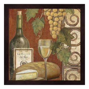 "Metaverse Art Wine & Cheese Tasting 1 Framed Wall Art, Brown, 12""X12"""