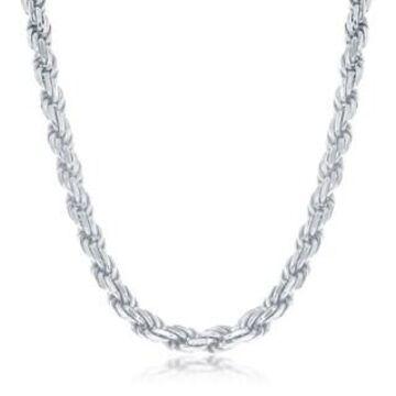 La Preciosa 925 Sterling Silver Italian Rhodium Plated Solid Diamond-Cut 5mm Rope 100 Gauge 18  , 22  , 24   Chain Necklace (24 Inch)
