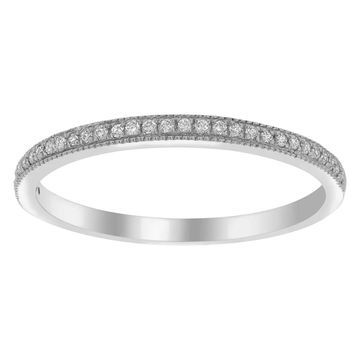10kt White Gold 1/10 ct Diamond Band Ring by Beverly Hills Charm
