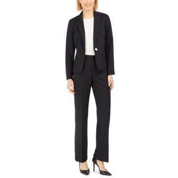 Le Suit Pinstripe One-Button Pantsuit