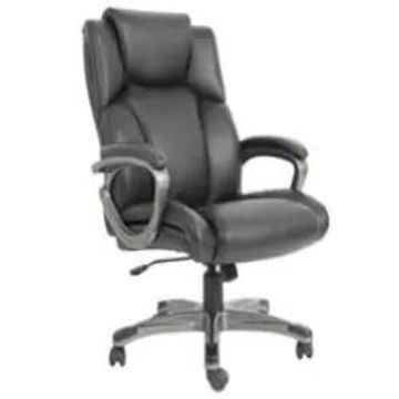 Essentials by OFM Heated Shiatsu Massage Leather Executive Office Chair, Black
