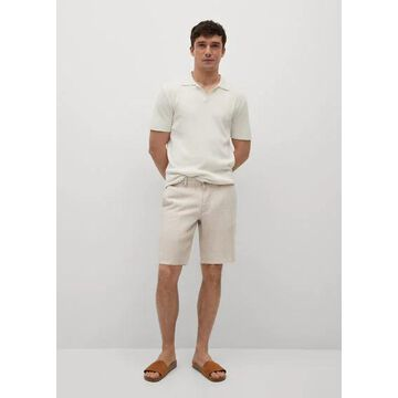 MANGO MAN - 100% linen shorts ecru - 36 - Men