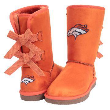 Women's Denver Broncos Cuce Orange Patron Bow Boots