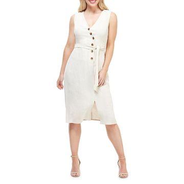 Button Self-Tie Wrap Dress