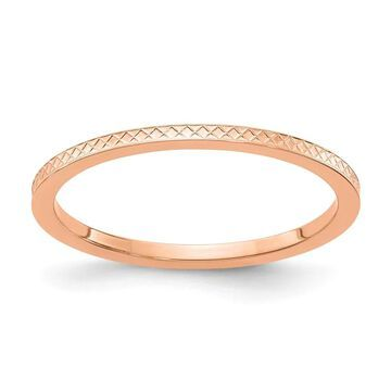10K Rose Gold 1.2mm Criss-Cross Pattern Stackable Band by Versil (6.5)