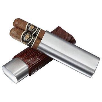 Visol Salerno Brown Leather 2 Finger Cigar Case