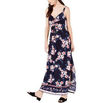Trixxi Womens Floral Slit Front Maxi Dress