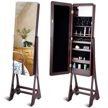 Costway LED Jewelry Cabinet Standing Armoire Organizer w/ Bevel Edge Full Size Mirror