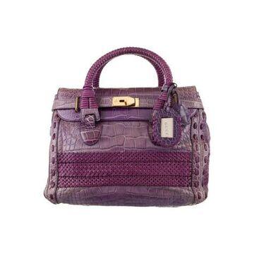 Crocodile Handmade Large Top Handle Bag Purple