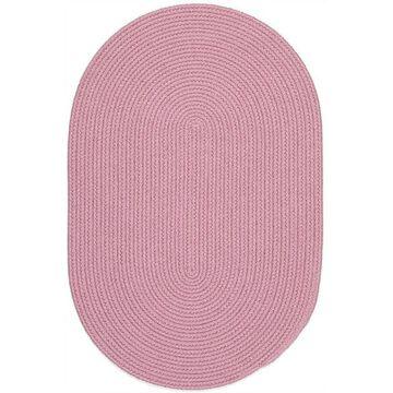 HB08R120X120 10 ft. Happy Braids Solid Pink Round Rug