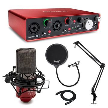 Focusrite Scarlett 2I4 Interface with MXL 770 Mic and Studio Accessory Bundle