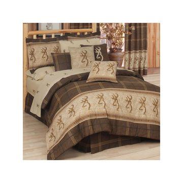 Browning Buckmark 4-pc. Brown Plaid Comforter Set