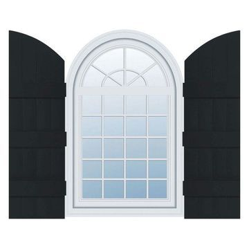Builders Edge, Standard Four Board Joined With Archtop, BnB Shutters, Black