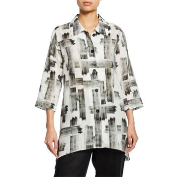Brushstroke Button-Front Tissue Linen Side-Fall Shirt