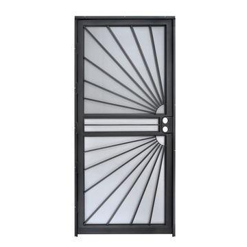 Gatehouse Sunray Black Steel Recessed Mount Single Security Door (Common: 36-in x 80-in; Actual: 35-in x 78.5-in)
