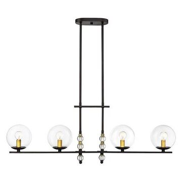 Granville 4-Light Trestle Chandelier, English Bronze and Warm Brass