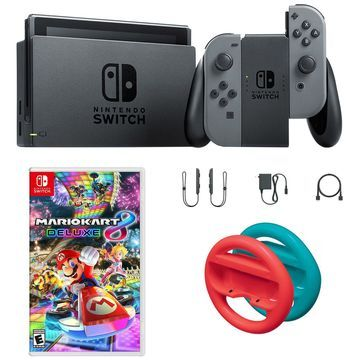 Nintendo Switch Gray with Mario Kart 8 and Redand Blue Wheels