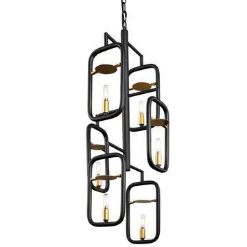 "Varaluz 327F06 Bar None 6 Light 16"" Wide Taper Candle Chandelier Aged Gold / Rustic Bronze Indoor Lighting Chandeliers"