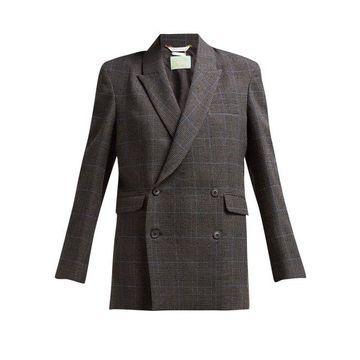Aries - Prince Of Wales Checked Tweed Jacket - Womens - Black