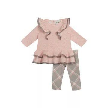 Rare Editions Girls' Girls 4-6X Textured Knit Peplum Top And Leggings Set - -