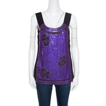 Philosophy di Alberta Ferretti Purple and Black Sequined Tulle Sleeveless Top M