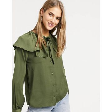 Vila blouse with exaggerated tie collar and balloon sleeves in green