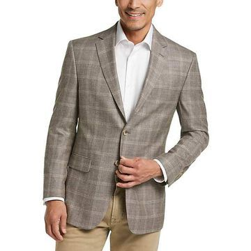 Pronto Uomo Platinum Men's Sport Coat Taupe Plaid - Size: 44 Short - Only Available at Men's Wearhouse