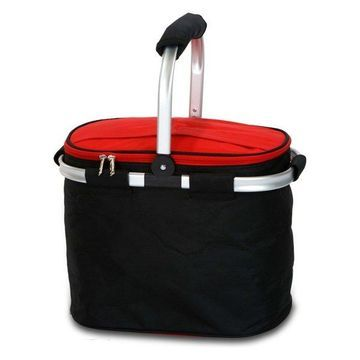 Shelby Collapsible Market Tote, Black/Red