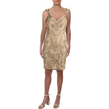 Theia Womens Cocktail Dress Beaded Sleeveless - 4