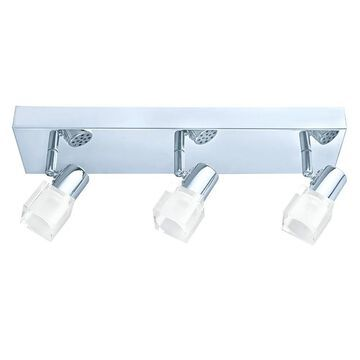Eglo Nocera 3-Light Chrome LED Flush Mount Track Light with Clear and White Glass (Silver)