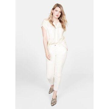 Violeta BY MANGO - Check-pattern blouse off white - 14 - Plus sizes