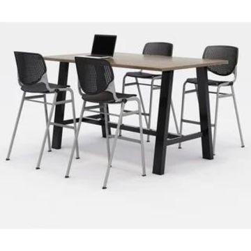 KFI Midtown Bistro Table Set, Studio Teak Top, 4 KOOL Stools (Black Chairs)