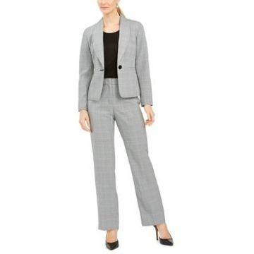 Le Suit Plaid One-Button Pantsuit