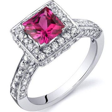 1.00 Carat T.G.W. Created Ruby Rhodium-Plated Sterling Silver Engagement Ring