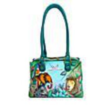 Anuschka Hand-Painted Leather Satchel with Organizer Wallet - African Adventure