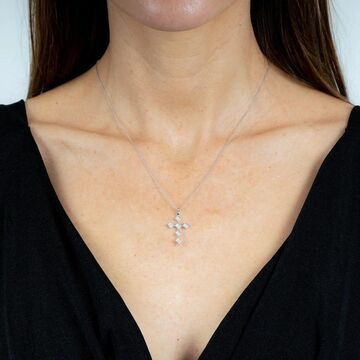10K White Gold 1/4 ct. TDW Diamond Cross Necklace by Beverly Hills Charm