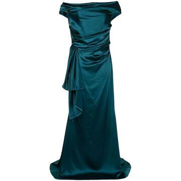 off-shoulder satin gown