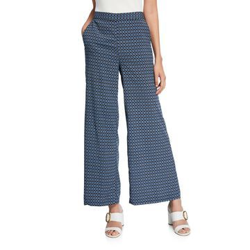 Dotted Wide-Leg Pull-On Pants