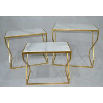 Jeco 3-piece Goldtone Steel Side Table Set
