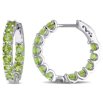 Miadora Sterling Silver Peridot Hoop Earrings