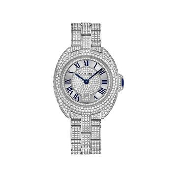 Cartier Women's HPI00980 'Cle De Cartier' Diamond White Gold-Tone Stainless Steel with Set of Diamonds Watch