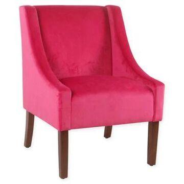 HomePop Modern Swoop Accent Chair in Pink