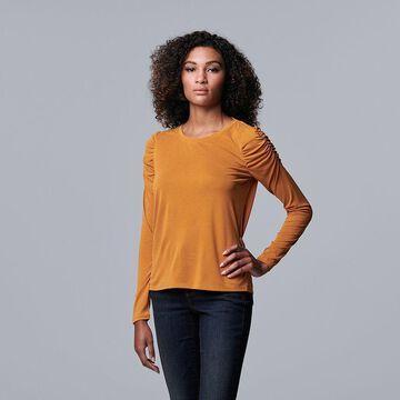 Women's Simply Vera Vera Wang Ruched Long Sleeve Tee, Size: XXL, Drk Orange