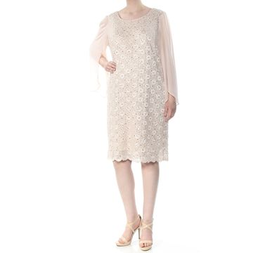 CONNECTED APPAREL Womens Beige Sequined Angel Sleeve Long Sleeve Jewel Neck Knee Length Sheath Cocktail Dress Plus Size: 18W
