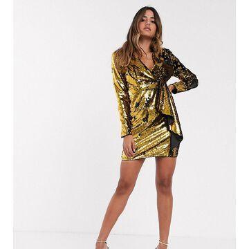 TFNC sequin tux mini dress in black and gold-Multi