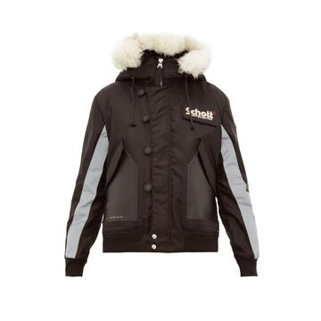 Schott - Leather-panelled Hooded Parka - Mens - Black