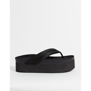 Monki Sophie recycled polyester thong flatform sandal in black